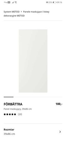 Panel maskujący FÖRBÄTTRA 102.978.83  39x86 cm biały ikea metod