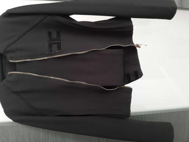 Dres kobiecy Elisabetta Franchi czarny legginsy bluza na suwak S M