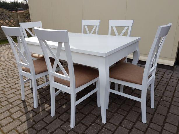 Zestaw prowansalski nowoczesny-stół +4 krzesła Krzyż biały PRODUCENT