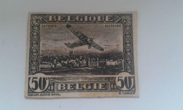 cenny uniktowy znaczek belgia z blednym drukiem
