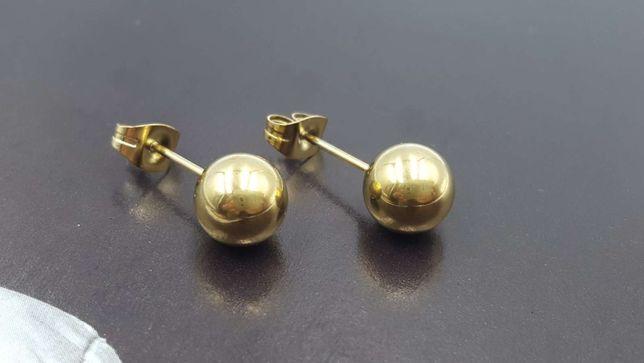 Kolczyki złote stal chirurgiczna 316L kulki