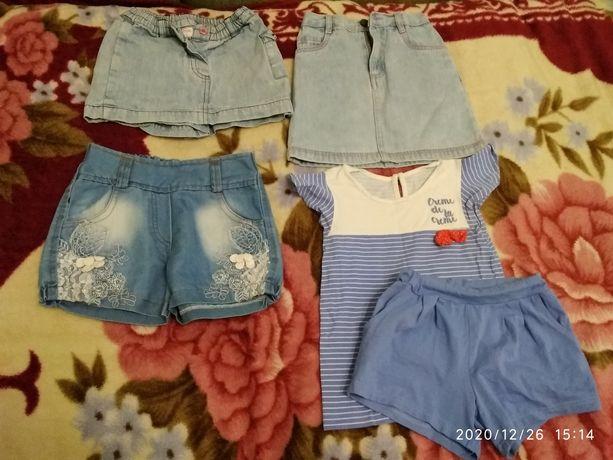 Джинсовые шорты,юбка,юбка-шорты,костюм трикотаж 3-5 лет. Цена за всё