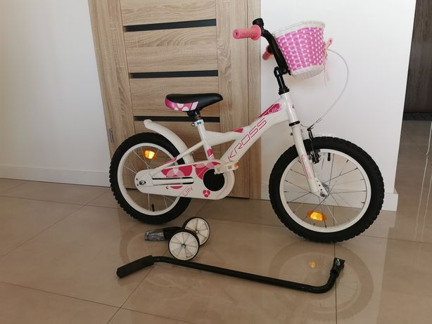Rower dziecięcy KROSS LILLY 16 cali + uchwyt do nauki i koszyk