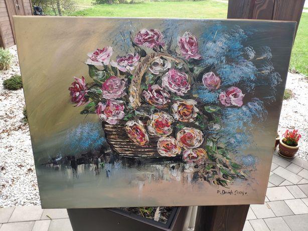 Obraz olejny przedstawiający kwiaty