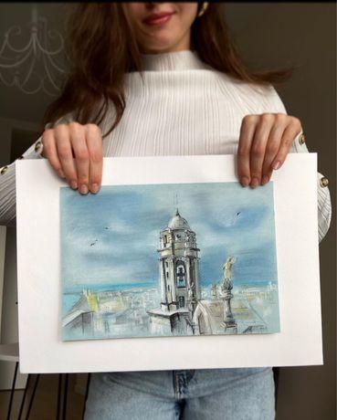 Картина пастелью Кадиский собор