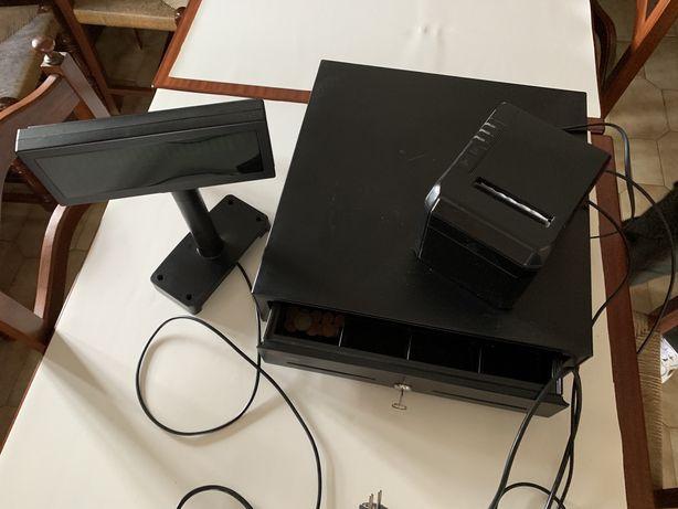 Conjunto gaveta, impressora e display