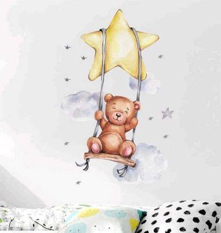 Naklejka miś i gwiazda