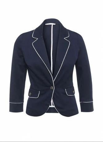 Темний синій піджак жакет жіночий окантовка біла oodji