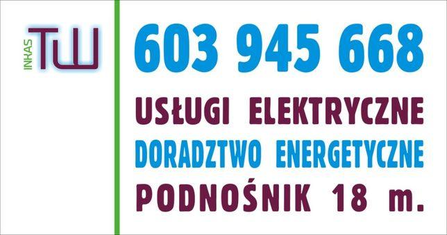Usługi Elektryczne w pełnym zakresie, wynajem podnośnika i minikoparki