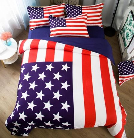 Colcha lençol cama de casal bandeira EUA Estados Unidos com 3 fronhas