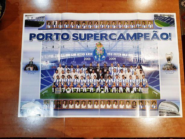Poster Gigante Raro Porto Super Campeão Liga dos Campeões & Liga 2004