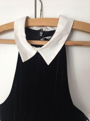 Czarna sukienka z białym kołnierzykiem river island