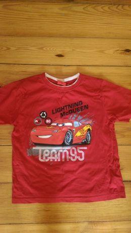 Czerwony T-shirt r.128 Cars Auta Zygzak Lightning McQueen