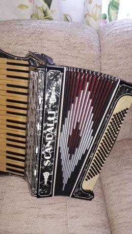 Akordeon scandalli musette czterogłosowy z jedną zmianą.
