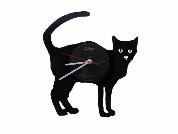 Relógio de parede Gato feito com um Disco de Vinil LP