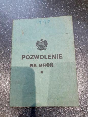 Stary dokument pozwolenie na broń