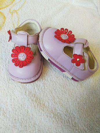 Детские туфельки светящиеся, 17 размер, мягкая кожа, ортопедические