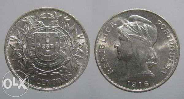 50 Centavos em Prata de 1916