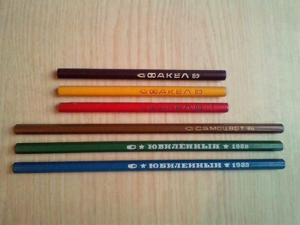 Новые карандаши цветные для рисования. Советские, СССР.