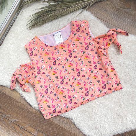 Milk It: Różowa krótka bluzka w kwiatki rozm S wiązane ramiona na lato