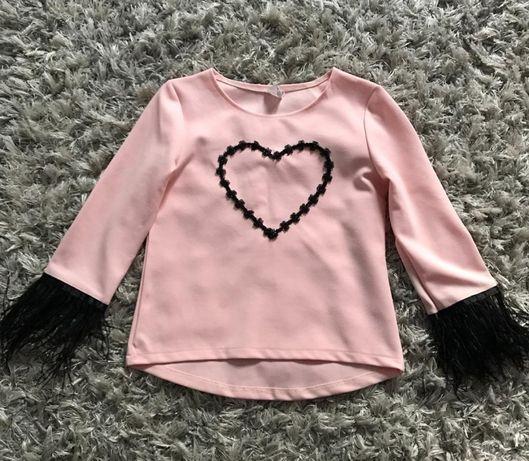 Elegancka bluzeczka Pudrowy Róż piórka 140/146