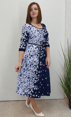 Женское нарядное платье 3/4 рукав ,купоном размер 52,54,56