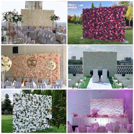 Ścianka kwiatowa na wesele/ślub, tlo za Parą Młodą