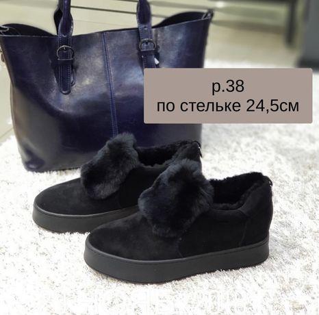 Ботинки - туфли женские, натуральный мех р.38