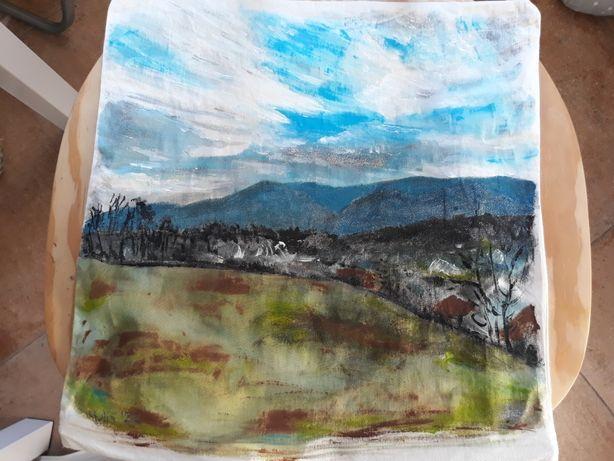 Ręcznie malowane poduszka góry pejzaż 40x40