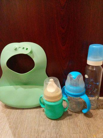 Набор для кормления, бутылочки,поильник,слюнявчик
