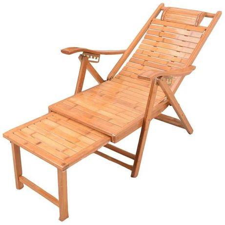 OUTLET - 2w1 leżak bambusowy krzesło składane regulowane
