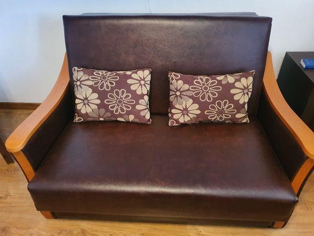 Sofa skórzana BRW brązowa z funkcją spania.