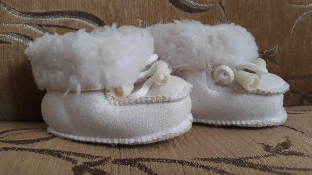 Biale ciepłe buciki niechodki na chrzest welna Wrocław - image 1
