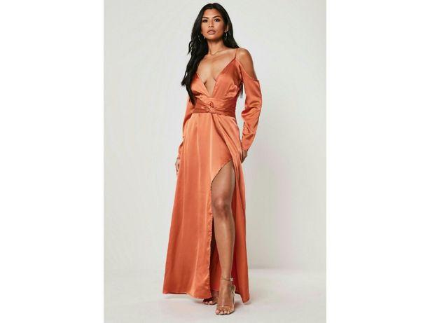 Сукня шелковое вечернее атласное платье плечи длинное разрез декольте