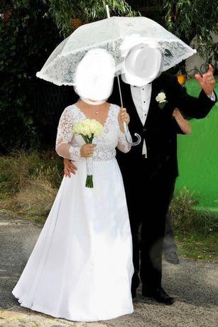 Suknia Ślubna Satyna Tafta Muślin pięknie uszyta