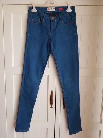 Niebieskie dopasowane spodnie jeansy rurki HOUSE 34 XS