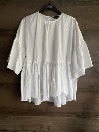 Bluzka oversize z falbaną baskinką koszula szeroka rękaw 3/4 koszulka