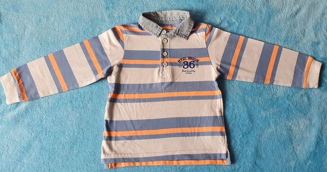 Bluzka bluza MAYORAL paski niebiesko pomarańczowe 92