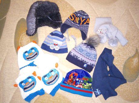 Шапка 50-52 52-54 3-4-5-6 лет шарф зимняя шапочка ушанка