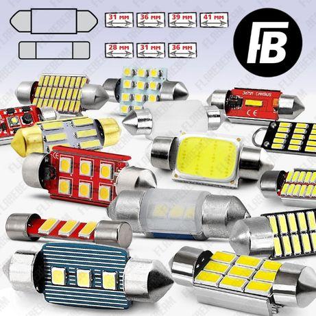 Лампы LED/ЛЕД светодиодные C5W диодные лампочки салон багажник номер
