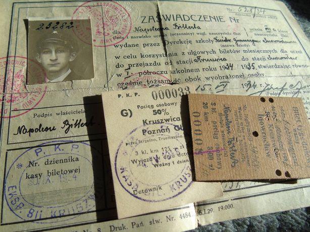 Bilet tygodniowy legitymacja PKP II RP liceum