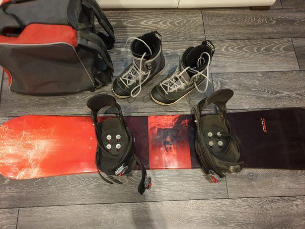 Deska snowboardowa + wiązania + buty rozmiar 38 + torba