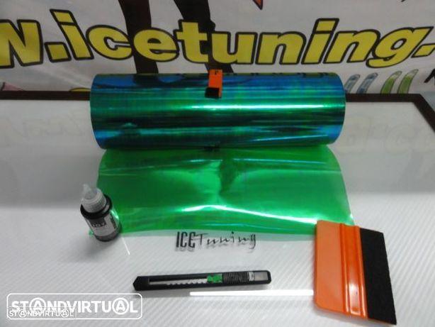 Kit Pelicula para farois Verde Dark Camaleao 0.30m X 1m + x-ato + liquido / solução de limpeza e de instalação temos 39 cores em stock