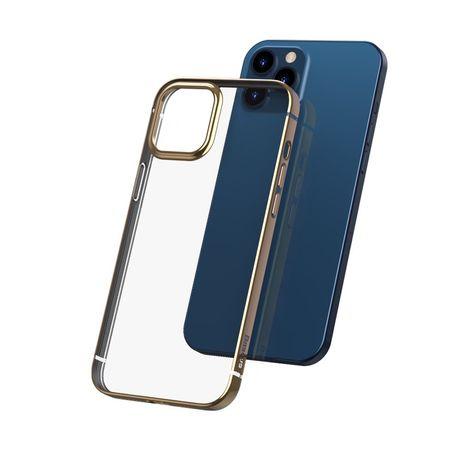 Capa Traseira Baseus Shining Metal Frame Iphone 12 Mini - Dourado