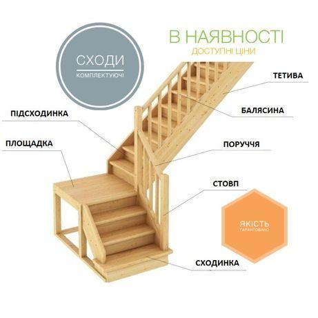 Сходи/Комплектуючі до сходів/Лесница деревянная/В наявності