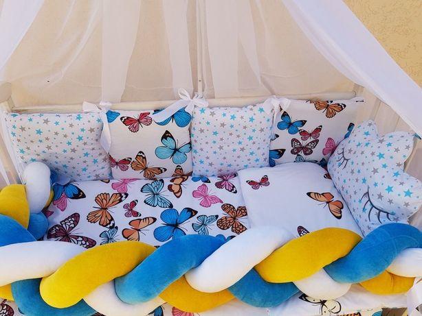 Бортики в кроватку для новорожденного,коса,одеяло,простынь,балдахин