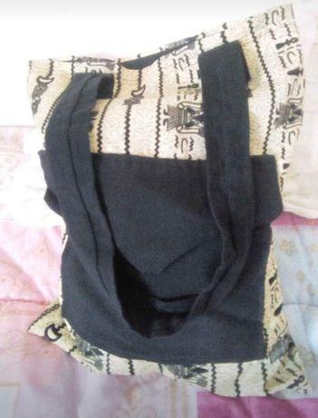 Mala de tecido preto e amarelo 4€