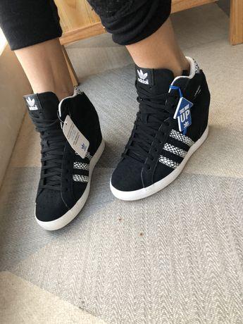 Женские кроссовки кеды на танкетке adidas basket profi up