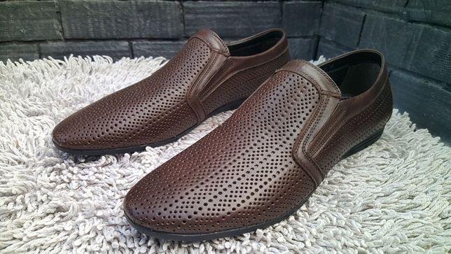 Туфли кожаные перфорированные р.43