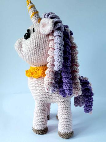 Детская вязаная игрушка Олень Единорог Пони  Подарок ребёнку.